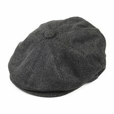 Grey herringbone Gatsby Cap Hat Mens Ladies Flat 8 Panel Baker Boy Newsboy