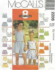 McCall's 2206 Girls' Tops and Shorts 10, 12, 14   Sewing Pattern