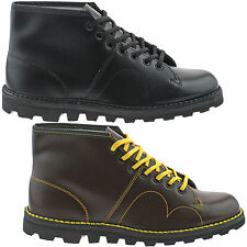 Men Grafters Leather Monkey Boots Size 3.5-12.5 Original Black Wine B430 Kd