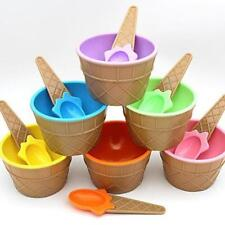 Ice Cream Bowl & Matching Spoon Fun Summer Party Kids Children Party Dessert Cup