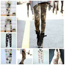 Womens Punk Funky Flower Print Leggings Stretchy Pencil Skinny Sexy Pants