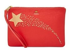 BRAND NEW FOSSIL GIFT SMALL WRISTLET LEATHER WALLET RED/METALLIC GOLD/BLACK