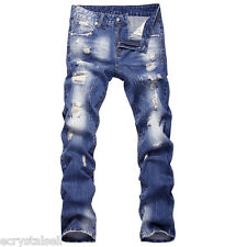 Vintage Mens Straight Slim Fit Jeans Washed Denim Distressed Ripped Skinny Pants