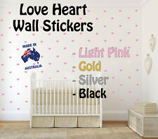 Love Heart Wall Stickers -Removable Wall Stickers - Wall Hearts Gold/Pink/Red