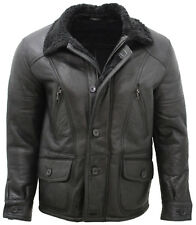 Men's Tan Rust Double Breasted Real Sheepskin Pea Coat