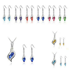 HOT Combination Necklace Crystal Hot Earrings 2016 NEW Fashion 1 Set Austrian