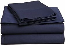 AU Bedding Collection  - 1000 TC 100% Egyptian Cotton Navy Blue Solid