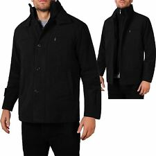 Mens Double Lined Wool Winter Smart Casual Trench Pea Coat Reefer Jacket Plus