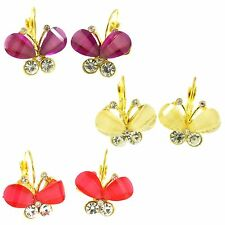 Butterfly Design Pierced Lever Back Earrings with Crystal Rhinestone 3 Colors