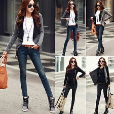 Fashion Women Slim Blazer Black Jacket Fit Outwear Zipper  Waterfall Coat Jacket
