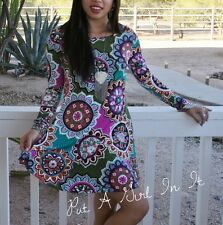 PINK OLIVE MEDALLION BOHO BABYDOLL with POCKETS FULL SKIRT MINI DRESS S M L XL