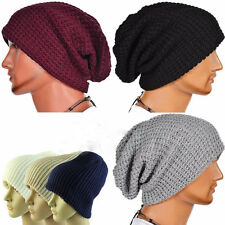 Men Women Warm Winter Knit Ski Beanie Skull Chic Slouchy Oversize Cap Hat Unisex