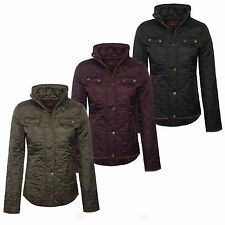 Ladies Quilted Jacket Button Zip Blazer Elbow Patch Coat Diamond Fitted Farmer
