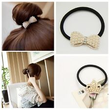Fashion Lovely imitation Pearl Bow Bowknot Hair Band Clip Elastic Accessories