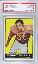 1961 Topps #147 Dennit Morris PSA 8 Houston Oilers RC Rookie Football Card