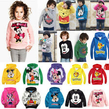 Baby Kids Girls Boys Mickey Minnie Mouse Pikachu Hooded Jacket Sweater Hoodies