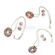 Vintage Gold Chain Enamel Round Torch Pattern Necklace Earring Set Sweater Decor