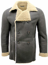 Men's Olive Khaki Double Breasted Real Sheepskin Pea Coat