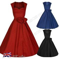 UK Womens 40's 50's Vintage Dress Rockabilly Retro Audrey Style Tea Party Skater