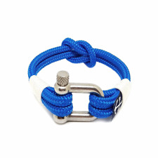 White and Blue Handmade Square Knot Nautical Bracelet by Bran Marion