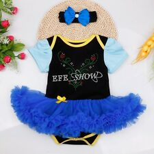 NEWBORN INFANT BABY GIRLS OUTFIT CLOTHING RHINESTONE ROMPER+HEADBAND 0-12MONTHS
