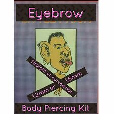 Eyebrow piercing kit, sterile, safe, cannula needle, clamps & instructions & dvd