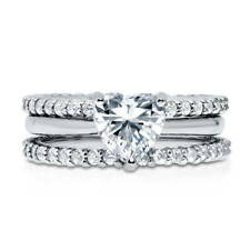 BERRICLE 925 Silver Heart Shaped CZ  Solitaire Engagement Ring Set 2.24 Carat