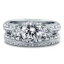 BERRICLE Sterling Silver Round CZ 3-Stone Engagement Ring Set 3.62 Carat