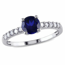 10k White Gold 1 Ct Blue Sapphire and 1/4 Ct TDW Diamond Cocktail Ring G-H I2