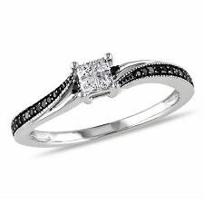 10k White Gold 1/5 Ct TDW Black & White Diamond Solitaire With Accents Ring