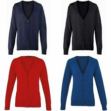 Premier Womens/Ladies Button Long Sleeve V-neck Knitted Cardigan