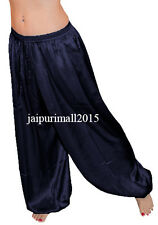 Navy Blue Satin Harem Yoga Pants Genie Aladdin Belly Dance Trouser Pantaloon