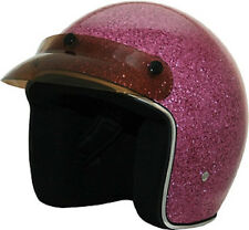 Pink Glitter Open Face DOT Motorcycle Helmet with storage bag 3 sizes fnt