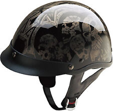 Silver Screaming Skulls DOT Motorcycle Half Helmet 5 sizes available fnt