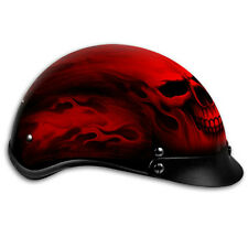 Flaming Red Ghost Skull DOT Motorcycle Helmet with Storage Bag size 2XL fnt