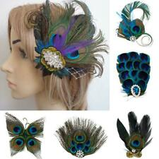 Rhinestone Peacock Feather Hair Clip Belly Dance Party Wedding Bridal Headpiece