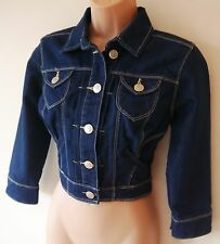 Womens Cropped Denim Jacket Coat Size 6 8 10 12 New Ladis Indigo Blue Cotton mix