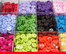 100Pcs 11MM 20 Colors DIY 2 Holes Round Resin Buttons Scrapbooking Sewing Craft