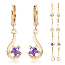 Womens Star crystal Crystal Dangle Hoop earrings Statement Gold Filled Fashion