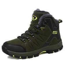GOMNEAR men Fur Lined trail hiking boots high top antiskid walking outdoor shoes