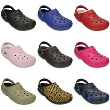 Crocs Classic Fuzz Lined Clogs - Black Blue Red Pink Green Brown - Croslite
