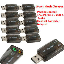 Chic USB 2.0 Audio Headset Microphone Jack Converter Sound Card Adapter Hot Lot