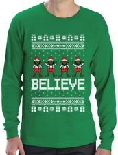 Believe Black Santa Elves Ugly Christmas Sweater Long Sleeve T-Shirt Funny Xmas