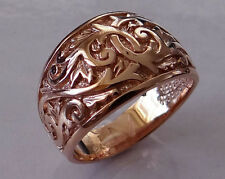 R300  Genuine Heavy 9K Solid Rose Gold Etched Engraved 14mm WIDE Band Ring