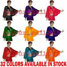 Satin Flair Wrap Top Tie Belly Dance Choli Gypsy Costume Tribal Top | 32 Colors