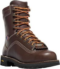 "Danner 17307 Quarry USA 8"" Mens Brown Leather Alloy Toe Waterproof Work Boots"