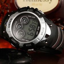 OHSEN Digital LED Backlight Date Alarm Stopwatch Mens Sport Wrist Watch Gift