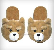 NEW TED MOVIE TEDDY BEAR PLUSH FACE OPEN BACK ADULT Slippers House Shoes LARGE
