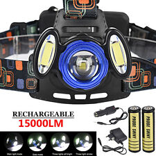 3x XML 15000LM T6 Rechargeable Headlamp HeadLight Torch USB Lamp + 18650&Charger
