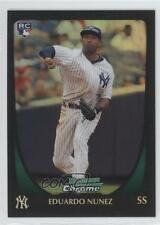 2011 Bowman Chrome Refractor #215 Eduardo Nunez New York Yankees Baseball Card